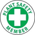 Plant Safety Member - Hard Hat Labels are constructed from Durable, Pressure Sensitive Vinyl, Sold 25 per pack