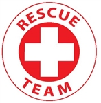 Rescue Team - Hard Hat Labels are constructed from Durable, Pressure Sensitive or Reflective Vinyl, Sold 25 per pack