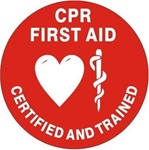 CPR First Aid Certified and Trained - Hard Hat Labels are constructed from Durable, Pressure Sensitive Vinyl, Sold 25 per pack