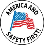 "2"" Diameter America and Safety First - Hard Hat Labels are constructed from Durable, Pressure Sensitive Vinyl, Sold 25 per pack"