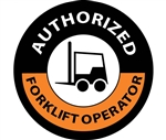 Authorized Forklift Operator - Hard Hat Labels are constructed from Durable, Pressure Sensitive Vinyl, Sold 25 per pack