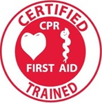 Certified CPR First Aid Trained - Hard Hat Labels are constructed from Durable, Pressure Sensitive Vinyl, Sold 25 per pack
