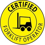 Certified Forklift Operator - Hard Hat Labels are constructed from Durable, Pressure Sensitive Vinyl, Sold 25 per pack
