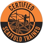 Certified Scaffold Trained - Hard Hat Labels are constructed from Durable, Pressure Sensitive Vinyl, Sold 25 per pack