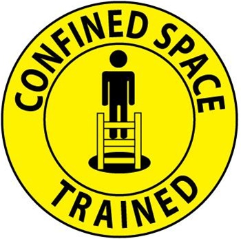 Confined Space Trained - Hard Hat Labels are constructed from Durable, Pressure Sensitive Vinyl, Sold 25 per pack