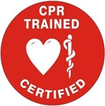 CPR Trained Certified - Hard Hat Labels are constructed from Durable, Pressure Sensitive Vinyl, Sold 25 per pack