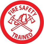 Fire Safety Trained - Hard Hat Labels are constructed from Durable, Pressure Sensitive Vinyl, Sold 25 per pack