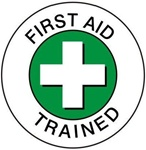 First Aid Trained - Hard Hat Labels are constructed from Durable, Pressure Sensitive Vinyl, Sold 25 per pack