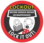 Lockout Before Service Repair or Maintenance - Lock it Out - Hard Hat Labels are constructed from Durable, Pressure Sensitive Vinyl, Sold 25 per pack
