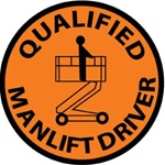 Qualified Manlift Driver - Hard Hat Labels are constructed from Durable, Pressure Sensitive Vinyl, Sold 25 per pack