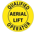 Qualified Aerial Lift Operator - Hard Hat Labels are constructed from Durable, Pressure Sensitive Vinyl, Sold 25 per pack