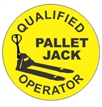 Qualified Pallet Jack Operator Hard Hat Labels, Constructed from Durable, Pressure Sensitive Vinyl, Sold 25 per pack