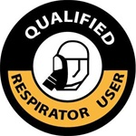 Qualified Respirator User - Hard Hat Labels are constructed from Durable, Pressure Sensitive Vinyl, Sold 25 per pack