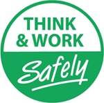 Think & Work Safely - Hard Hat Labels are constructed from Durable, Pressure Sensitive Vinyl, Sold 25 per pack