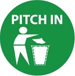 Pitch In - Hard Hat Labels are constructed from Durable, Pressure Sensitive Vinyl, Sold 25 per pack