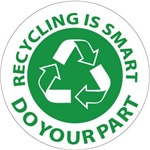 Recycling is Smart, Do Your Part - Hard Hat Labels are constructed from Durable, Pressure Sensitive Vinyl, Sold 25 per pack