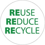 Reuse Reduce Recycle - Hard Hat Labels are constructed from Durable, Pressure Sensitive Vinyl, Sold 25 per pack