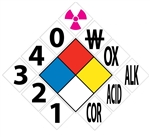 NFPA Diamond Placard Kit with Numbers and Symbols - Available 10 X 10 and 15 X 15 Pressure Sensitive Vinyl or Rigid Plastic