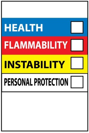 Hazardous Material Communication Label - Health, Flammability, Instability and Personal Protection 6 X 4 Sold 10 per Pack