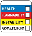 Hazardous Material Identification Labels on a Roll  - 250 - 2 X 2 or 4 X 4 Paper and Vinyl Pressure Sensitive