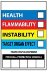 Right to Know Label - Health, Flammability, Instability and Personal Protection 6 X 4 Sold 10 per Pack