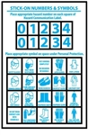 Personal Protection Numbers & Symbols Sold 10 sheets per Pack, Use with labels HM36 & HM42