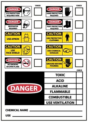 PPE Chemical ID Hazard Labels - 3 X 5 Pressure Sensitive Labels 10 pack or 10 X 14 Pressure Sensitive or Plastic Individual Signs