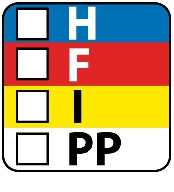 HFIP Labels on a Roll - Health, Flammability, Instability and (PPE) Personal Protection - 1 X 1 Pressure Sensitive Paper