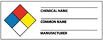 NFPA Chemical Name Labels on a Roll - Health, Flammability, Instability and Specific Hazard - 1 1/2 X 4 Pressure Sensitive Paper or Pressure Sensitive Vinyl