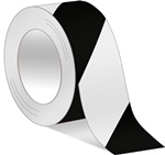 Black/White Hazard Warning Tape - Available in 2 and 3 inch widths X 18 or 36 Yard Rolls