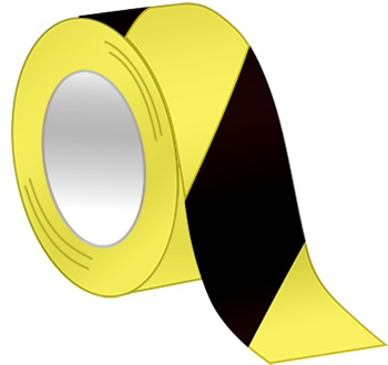 Black & Yellow Hazard Tape - Available in 2 and 3 inch widths  X 18 or 36 Yard Rolls
