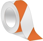 Orange/White Hazard Warning Tape - Available in 2 and 3 inch widths  X 18 or 36 Yard Rolls