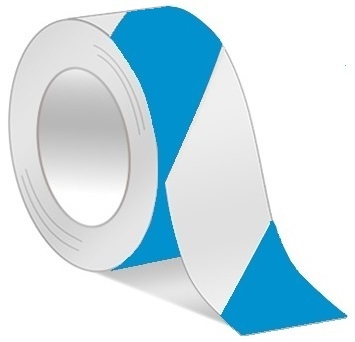 Blue/White Hazard Warning Tape - Available in 2 and 3 inch widths  X 18 or 36 Yard Rolls