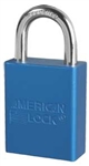 American Lock A1105BLU Safety Series Padlock  - Blue anodized aluminum padlock - 1 inch hardened steel chrome plated shackle.