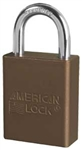 Brown, American Lock 1105BRN Safety Series Padlock, Brown anodized aluminum padlock - 1 inch hardened steel chrome plated shackle.