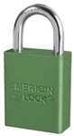 Green, American Lock A1105GRN Lockout Padlock- Green color coded anodized aluminum padlock - 1 inch hardened steel chrome plated shackle.