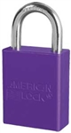 Purple, American Lock A1105PRP Lockout Padlock - Purple anodized aluminum padlock - 1 inch hardened steel chrome plated shackle.