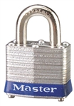 Master™ Lock 3BLU No. 3 Blue Bumper Steel Body Lockout Padlock - 3/4 inch Shackle - Safety Padlock features color coded bumper supplied for identification and protection.