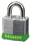 Master™ Lock 3GRN No, 3 Green Bumper Steel Body Lockout Padlock - 3/4 inch Shackle - Safety Padlock features color coded bumper supplied for identification and protection.