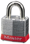 Master™ Lock 3RED No. 3 Red Bumper Steel Body Lockout Padlock - 3/4 inch Shackle - Safety Padlock features color coded bumper supplied for identification and protection.