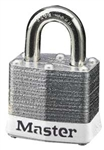 Master™ Lock 3WHT No. 3 White Bumper Steel Body Lockout Padlock - 3/4 inch Shackle - Safety Padlock features color coded bumper supplied for identification and protection.