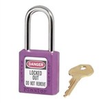 Purple Master™ Lock 410PRP Safety Series Lockout Padlock - 1 1/2 inch Shackle - Safety Padlock features a Danger label