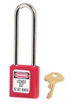 "Red, Master™ Lock 410LTRED Series Lockout Padlock - Extra Length 3"" Shackle Clearance."