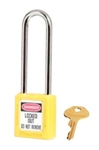 "Yellow, Master™ Lock 410LTYLW Series Lockout Padlock - Extra Length 3"" Shackle Clearance."