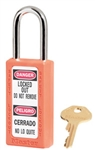 Master™ Lock 411ORJ Orange Body Bilingual Safety Series Lockout Padlock - 1-1/2 inch Shackle Clearance Safety Padlock
