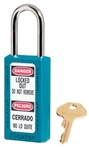Teal, Master™ Lock 411TEAL Bilingual Safety Series Lockout Padlock - 1-1/2 inch Shackle Clearance.