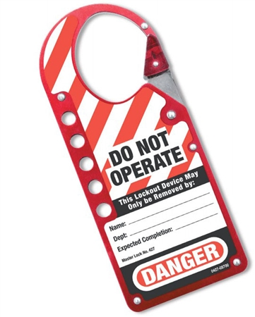 Snap On Lockout Hasps - Combined lockout tag and safety lockout is made of anodized aluminum with a permanently attached erasable danger label.