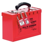 Master Lock Group Lock Box 498A - Red Heavy Duty Steel Construction - Accepts 13 locks to keep all of your keys well organized and protected until everyone is accounted for.