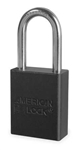 Black, American Lock A1106BLK Lockout Padlock - Black anodized aluminum padlock - 1-1/2 inch hardened steel chrome plated shackle.