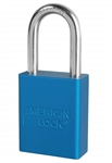 Blue, American Lock A1106BLU Lockout Padlock - Blue anodized aluminum padlock - 1-1/2 inch hardened steel chrome plated shackle.
